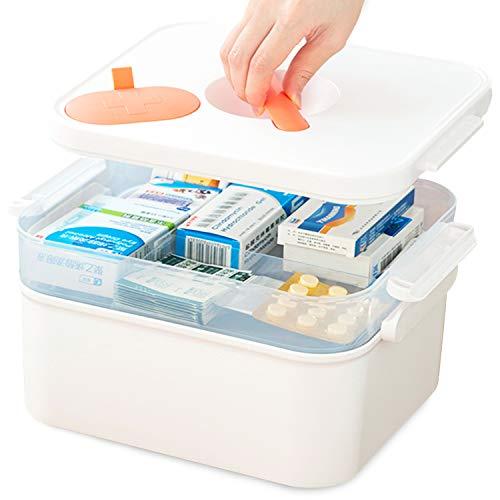 Medizinbox, Erste-Hilfe-Box mit Mini-Medizinbox, Hausapotheke Schrank 2 Fächern, Tragbare Aufbewahrungsbox für Medizinkisten,2 Ebene Medizinkoffer,Organizer-Box für zu Hause, im Freien, 30X22X18 cm