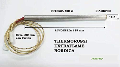 Bougie d'allumage pour poêle à granulés, résistance 12,5 x 185 W 400