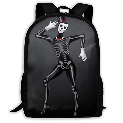 Mochila Escolar Esqueleto Humano Disfraz de Halloween Mochila de Viaje Informal para...