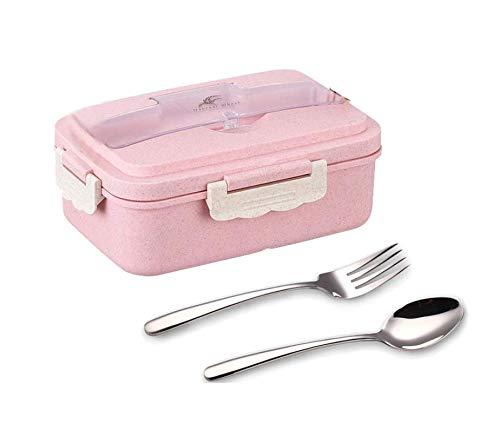 Unique Store 1000ML Kinder Bento Box,Lunchbox Kinder mit 3 Fächern und 2 Besteck, Lunchbox Mikrowelle Heizung(Pink)