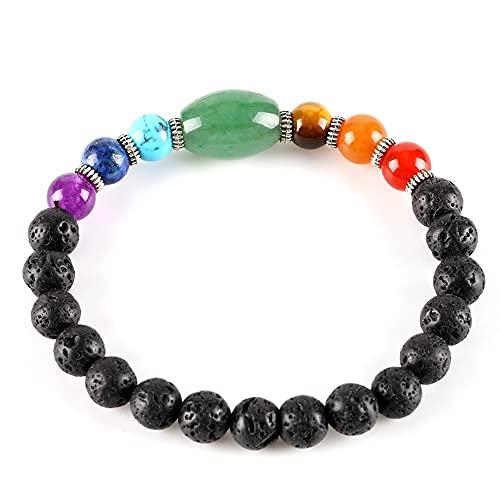 Beaded Bracelets For Women,7 Chakra Beads Natural Green Aventurine Gemstone Lava Stone Anxiety Bracelet Lucky Elastic Bangle Yoga Jewelry Gift For Men Women