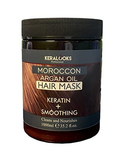 Keralooks Professional® Moroccon argan hair mask for Smoothing plus keratin hair (1000ml)
