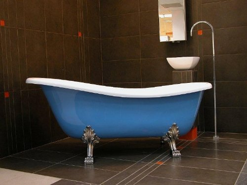Freistehende Luxus Badewanne Jugendstil, Roma Hellblau/Weiß/Chrome