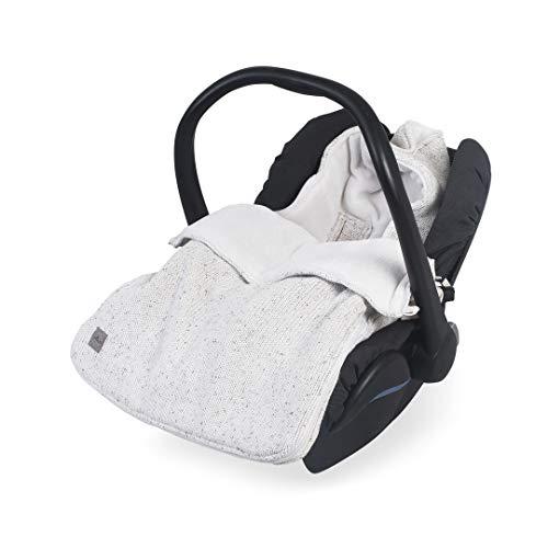 Jollein - Baby Fußsack 42x82cm Confetti Knit weiß - Strick Schlafsack für Babyschalen und Autositze - Universal Komfortsack für unterwegs - Wasserdichter Winterfußsack