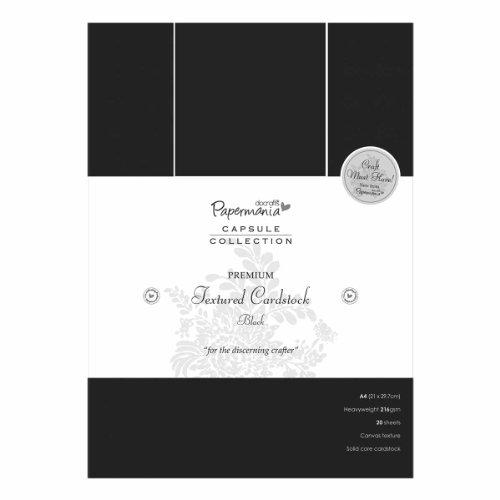 Papermania Capsule - 20 cartoncini ruvidi, qualità Premium, Formato A4, 29,7 x 21 cm, Colore: Nero