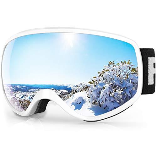 findway Masque de Ski Enfant 3 à 8 Ans - Lunettes de Ski Enfant Masuqe Ski pour Garçon et Fille Anti-UV Antibuée Compatible avec Casque pour Ski Autres Sports (Lentille Gris/Argent (VLT 21%))