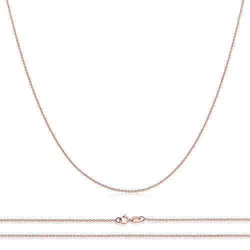 14 Karat / 585 Gold Feine Rund Ankerkette Breite 0.8 mm Rosegold Kette - Länge wählbar (45)