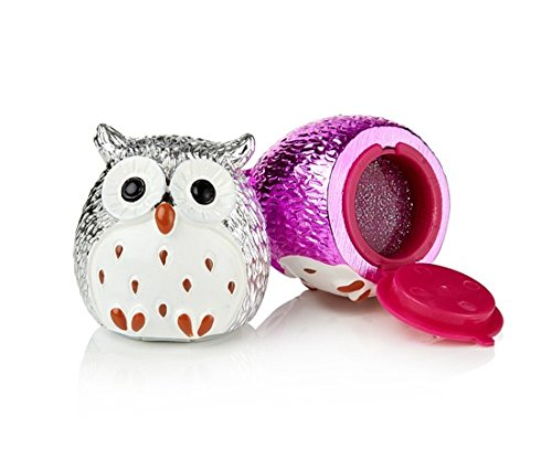 NPW Metallic Owl Lip Balm Strawberry/Vanilla (Pack of 2, Silver/Pink)