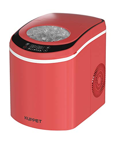 KUPPET Portable Ice Maker Machine for Countertop with LED Display Self-Cleaning Electric Ice Maker with Scoop and Basket, 9 Ice Cubes Ready in 6 mins, 26 lbs Ice in 24 hrs(Red)