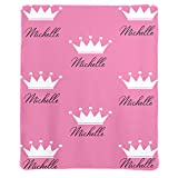 Qearl Custom Pink Girls Baby Blanket with Princess Crown Custom Flannel Fleece Throw Blanket Super Soft for Boy & Girl, with Your Name Festival Gift 50x60 Inches