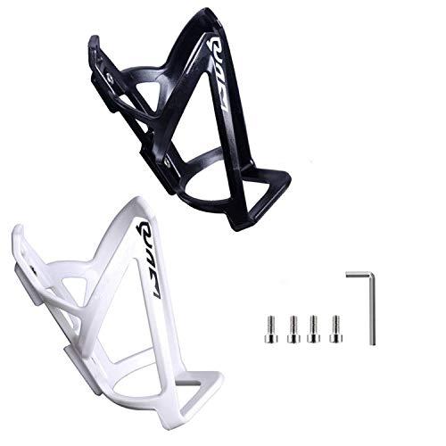 SLKIJDHFB - Portaborraccia per bicicletta, 2 pezzi, leggero, resistente, per bicicletta, per bici da strada, montagna e bambini (bianco e nero)