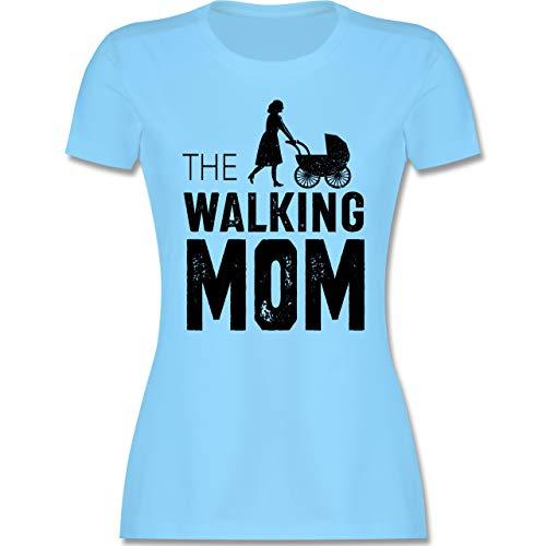 Muttertagsgeschenk - The Walking Mom - M - Hellblau - super mom - L191 - Tailliertes Tshirt für Damen und Frauen T-Shirt
