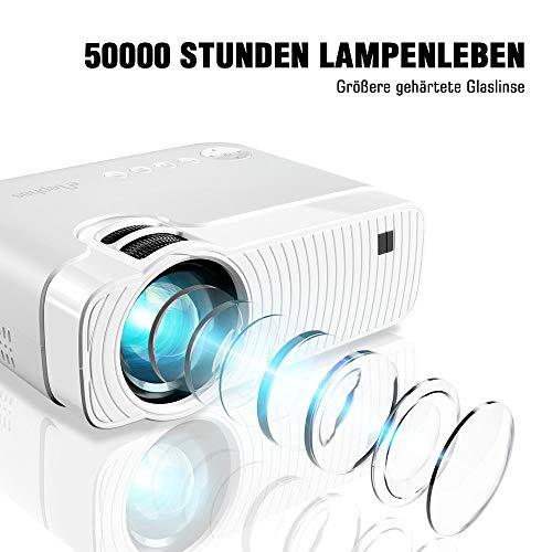 "Mini Beamer, ELEPHAS 4500 Lumen Tragbarer LED Projektor, unterstützt 1080P, Max 180 ""Display, 50000 Stunden Lampenlebensdauer, kompatibel mit USB / HD / SD / AV / VGA. MEHRWEG - 4"