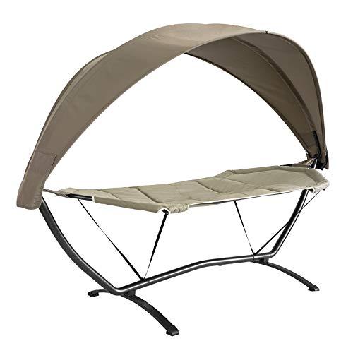 SoBuy OGS51-BR, Outdoor Garden Patio Hammock Swing Chair Sun Lounger with Sun Shade