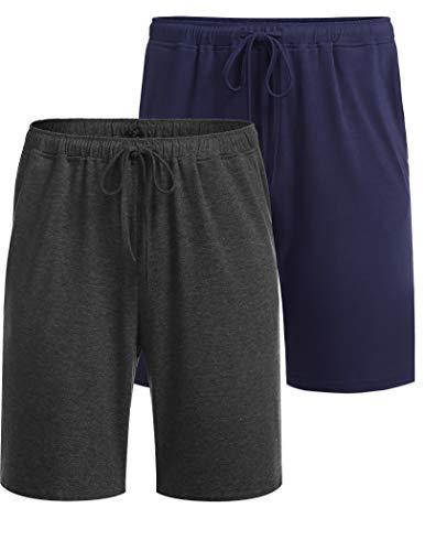 Ekouaer Pantalones cortos de pijama para hombre, pantalones de pijama para verano, pantalones para dormir, con bolsillos, 2 unidades, S - XXL Azul oscuro y gris oscuro. XL