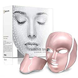 LED Skin Mask-CE Cleared Pro 7 LED Skin Care Mask for Face and Neck Skin Rejuvenation Light Therapy Facial Care Mask and Optical Cosmetic Mask Portable for Home and Travel Use