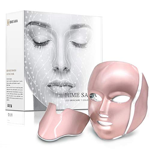LED Skin Mask-CE Cleared Pro 7 LED Skin Care Mask for Face and Neck Skin Rejuvenation Light Therapy Facial Care Mask and...