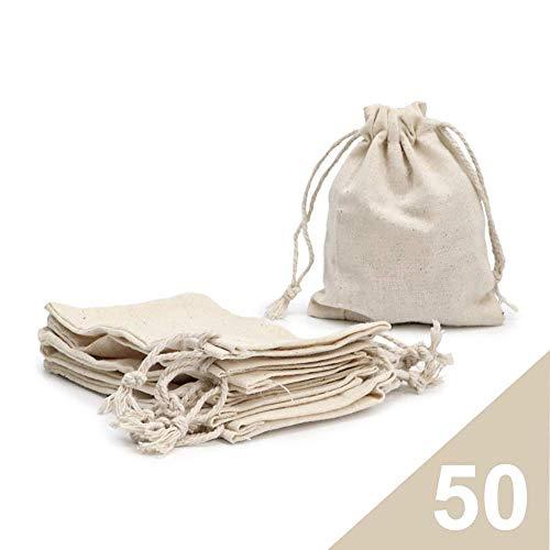 RUBY - 50 Bolsas de algodón con cordón Ajustable