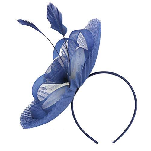 Lurrose Tocado diadema de plumas velo de malla para boda, sombrero de...