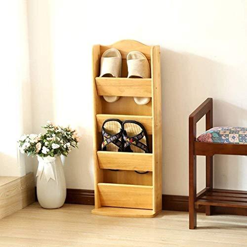 Schuhregal, kreatives Schuhregal aus Massivholz, mehrlagig, für Zuhause, massives Holz, einfaches Schuhregal, geeignet für Eingang/Flur/Badezimmer, a