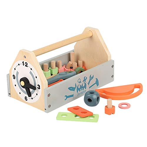 Nrkin Caja de herramientas de madera para niños a partir de 18 meses