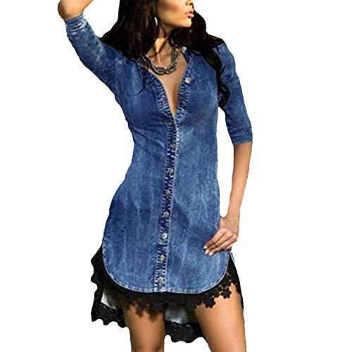 Rawdah- Big prometion,Vestiti Lunghi Vestiti da Donna Sera Pulsante Giù Denim Sexy Vestito Le Signore Pizzo Jeans Lungo Top Camicia Vestito Blu XXL