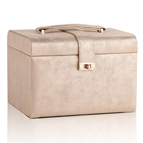 POMNEFE Caja de joyería, caja de almacenamiento de joyería a presión, caja de joyería de tres capas, caja de joyería para mujer, caja de joyería de diseño simple