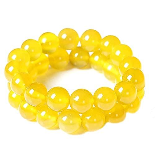 Pulsera de limpieza de cuerpo de jaspe amarillo,Pulsera de meditación de yoga de piedras preciosas elásticas,Cuentas antifatiga naturales para mujeres y hombres