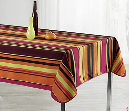 Stain Resistant Fabric Tablecloth Rectangular 150 x 300 cm - Multicoloured Striped