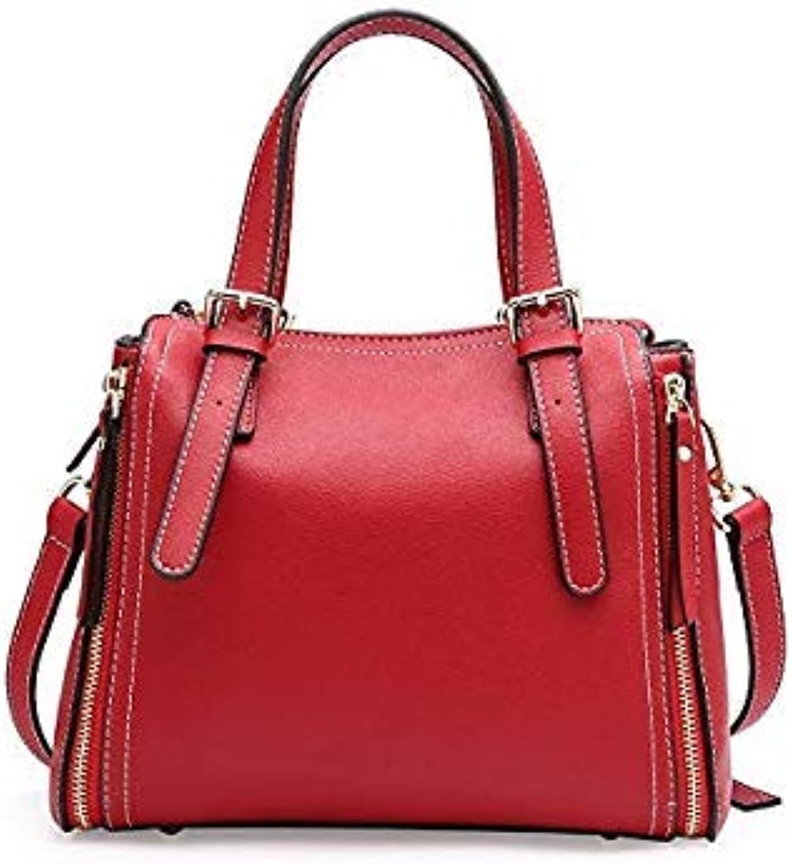 Bloomerang Korean Style Women Handbag Genuine Leather Split Leather Zipper TopHandle Bag Fashion Shoulder Crossbody Messenger Bags Gifts color A