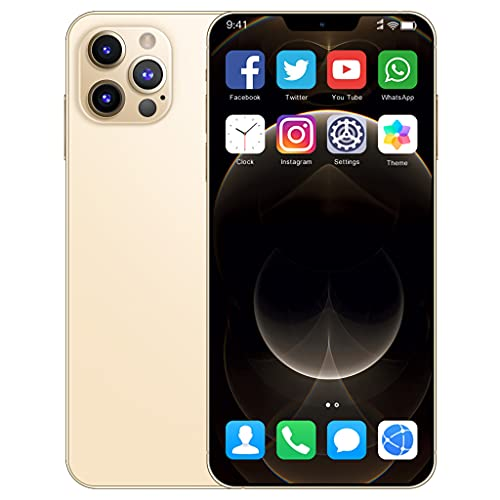 I12ProMax 4G Moviles Libres Barato, 6.7 Pulgadas Smartphone Libre Dual SIM, 4GB RAM+64GB ROM, 24MP+48MP, 5800mAh Teléfono Móvil Baratos y Buenos,Oro