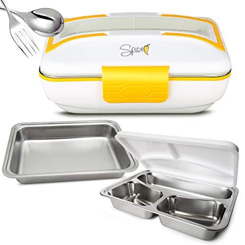 Spice Amarillo Inox Trio Scaldavivande Lunch Box 40 W 1litro + Set 2 Vaschette acciaio inox e coperchio di tenuta
