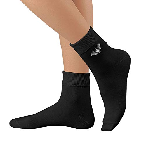 Shanghao Fledermaus Design Schwarz Unisex Baumwolle Crew Socken Casual Strumpf