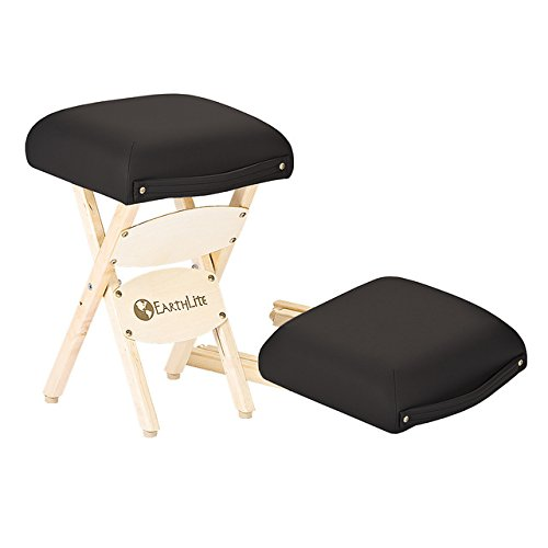 EARTHLITE Wooden Folding Stool - Hardwood Maple, CFC-Free, Massage Table Medical Spa Facial Salon Chair, Black , 19.00 x 13.00 x 13.00 Inches