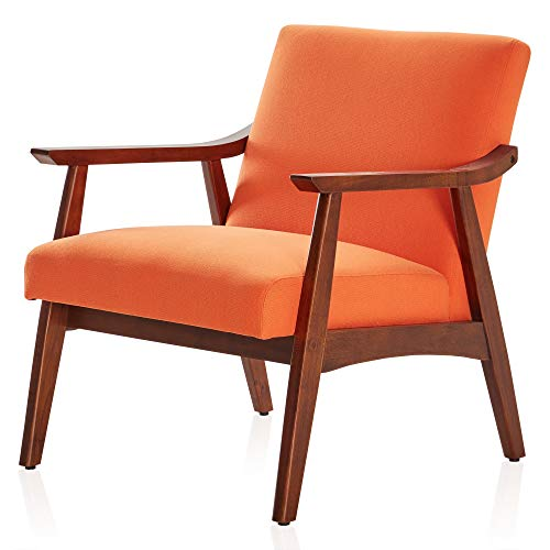 BELLEZE Mid-Century Modern Accent Chair Living Room Upholstered Linen Armchair with Wood Legs, Orange