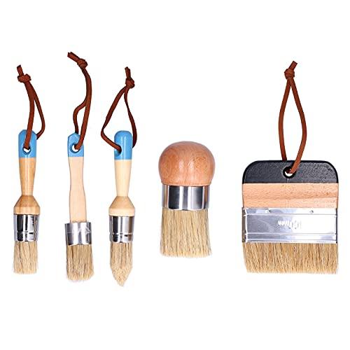 Pinceles de pintura de tiza y cera Pinceles de plantilla de cerdas para muebles de madera decoración del hogar, incluidos pinceles de pintura planos, puntiagudos y redondos con tiza, 5 piezas