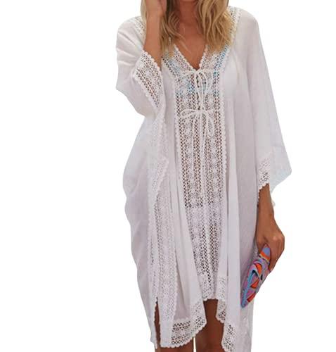 JFAN Copricostume con Scollo a V Mare Donna Pizzo Copribikini Vestiti Bianco Abito da Spiaggia Mini Abito Vestito Beachwear con Coulisse,Bianco
