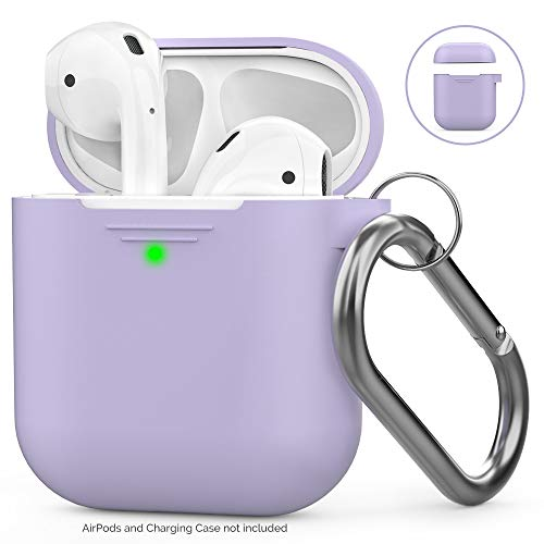 AhaStyle AirPods Case Cover Silicone [Front LED Visible & Supports Wireless Charging] Compatible with Apple Airpods 2&1(2019) (With Carabiner, Lavander)