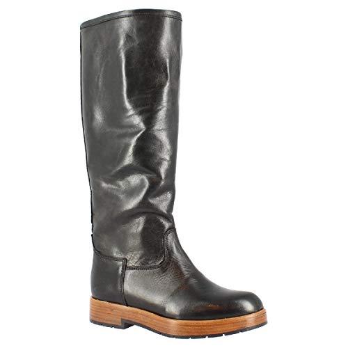 Leonardo Shoes Botas hasta la Rodilla con Punta Redonda Hechas a Mano para Mujer en Piel de Becerro marrón quemada con Cierre Lateral de Cremallera - Tamaño: 36 EU