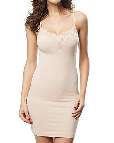 Franato vestido de cuerpo completo para mujer, sin costuras, moldeador de cuerpo Beige color carne 3XL