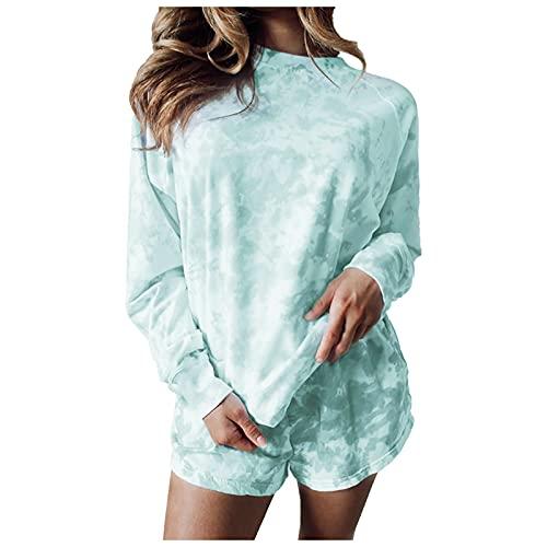 Camiseta de manga larga para mujer, estilo casual, estampado Tie-Dye W1061, verde, XXXL