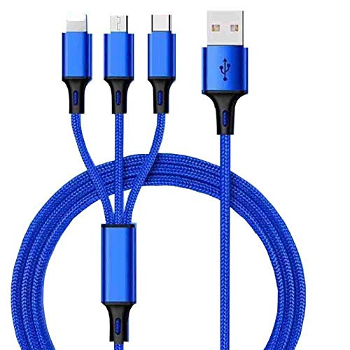 2Pack Multi Charging Cable 3A,4ft 3 in 1 Fast Charger Cable Nylon Braided Multiple USB Cable, iOS/Type C/Micro USB Port Adapter Compatible with Cell Phones/Tablets and More. (Blue)