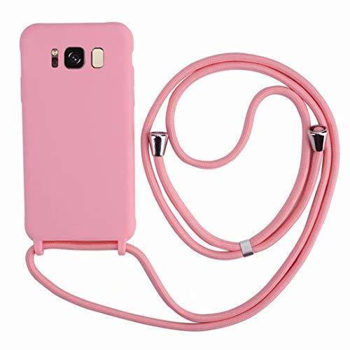 2ndSpring Funda con Cuerda Compatible con Samsung Galaxy S8 Plus,Colgante Collar Correa de Cuello Cadena Cordón,Silicona Suave Pink