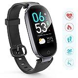 AGPTEK Bracelet Intelligent Femme W03 Tracker d'Activité avec Cardiofréquencemètre Podomètre Calories Sommeil - Bluetooth 4.0 Etanche IPX7-Montre Connectée Compatible avec iOS 8.0 ou Android 4.3, Noir