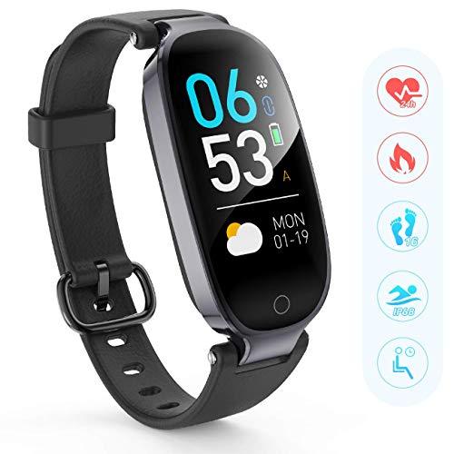 AGPTEK Fitnessarmband met hartslagmeter, waterdichte IP68 Fitness Tracker met GPS Activity Tracker, hartslagmeter, stappenteller, Smartwatch-ondersteuning voor bellen, sms en SNS, zwart
