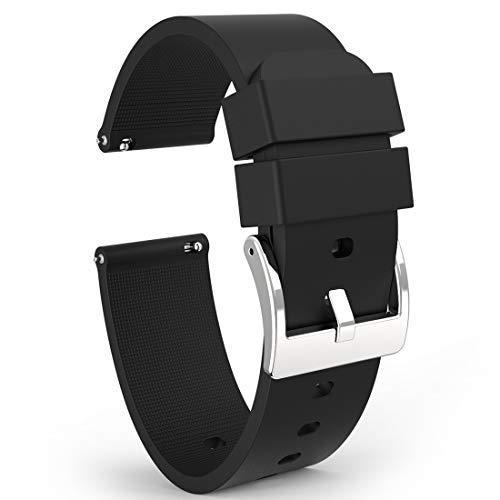 Wellfit Watch Strap, 18mm Silicone Watch Band, 18mm Quick Release Watch Band, 18mm Rubber Watch Bands (18mm, Black)