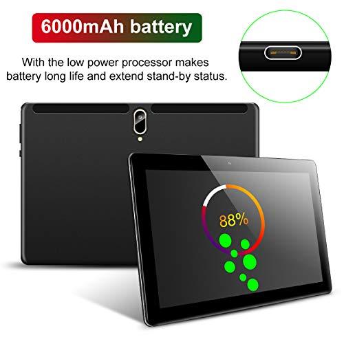 Padgene N10 Tablet 10.1 Zoll (25.54cm), Android 10.0 Ultra Dünn Tablett PC, Octa-Core, 128GB erweiterbar auf bis zu 256GB, 4GB RAM, 4G LTE Phablet, Dual SIM, WiFi, Bluetooth(Schwarz)
