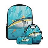 Conjunto de mochila escolar,Atún de aleta azul del Atlántico de...