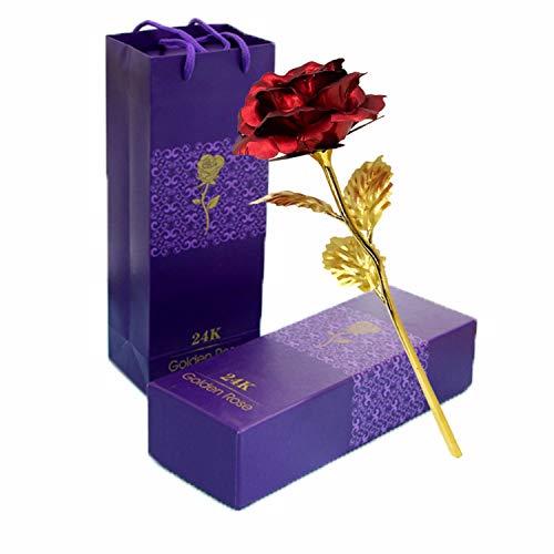 TYXSHIYE 24 Karat Vergoldete Rose Rot, 24K Goldene Rose Handgefertigt Konservierte Rose, Blattgold Rose mit Geschenkbox für Geburtstag Geschenk Freundin Muttertag Hochzeitstag Künstliche