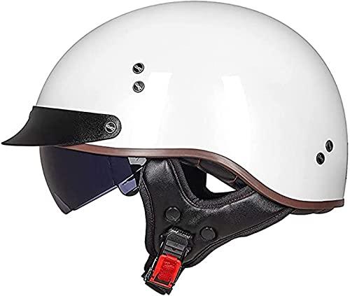 Moto Cascos Half-Helmet con Visera Abierto Medio Casco Motocicleta Retro para Adultos ColisióN Helmet Cascos ECE Homologado Bici Viaje Crucero Scooter Bicicleta Hombres Mujeres B,L